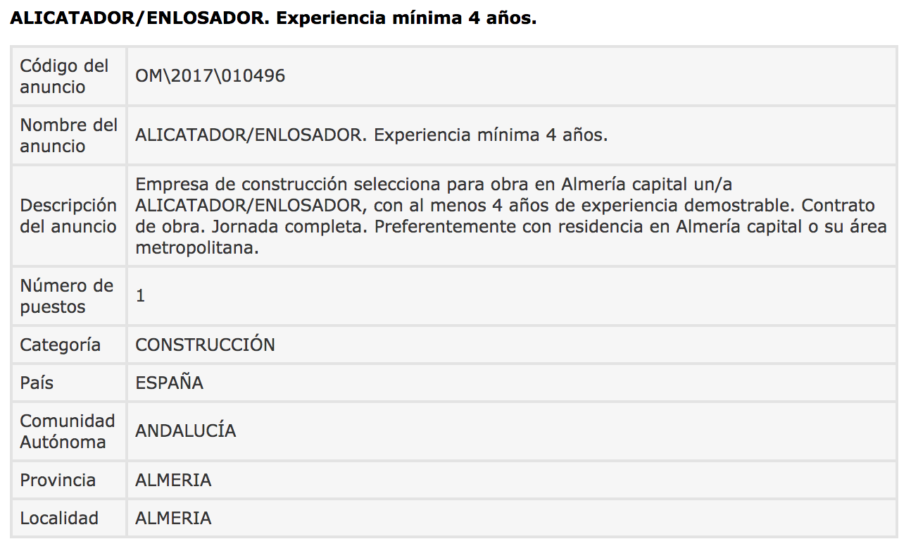 Ofertas de Empleo en España: Alicatador / Enlosador - Almería - photo#21