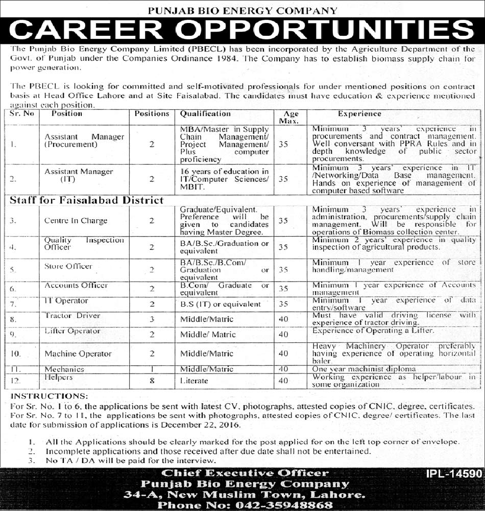 Jobs in Punjab Bio Energy Company Limited Lahore