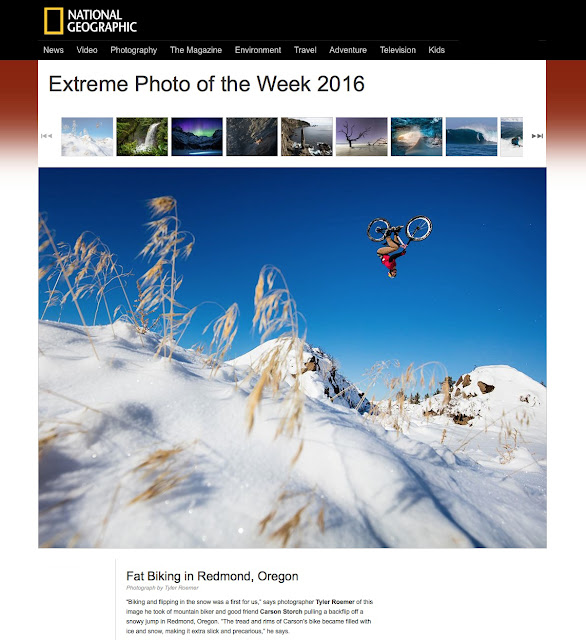 National Geographic extreme photo of the week, mountain bike in snow, backflip, Carson Storch.
