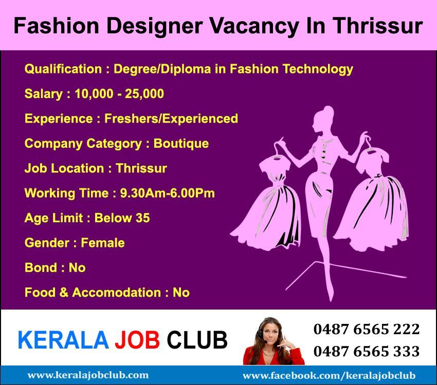 Fashion Designer Vacancy In Thrissur