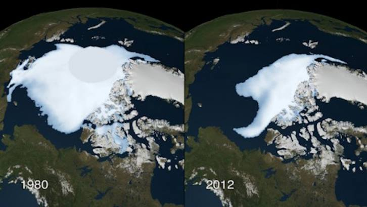 You Still Think Climate Change Is A Hoax These 20 Before-And-After Photos Will Leave You Speechless! - ARCTIC ICE, 1980 AND 2012