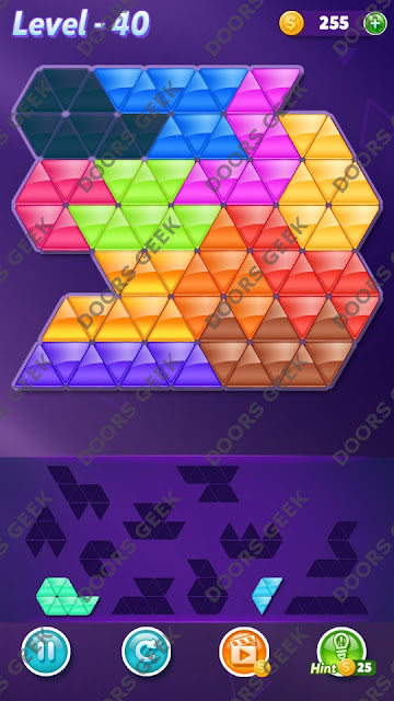 Block! Triangle Puzzle Challenger Level 40 Solution, Cheats, Walkthrough for Android, iPhone, iPad and iPod