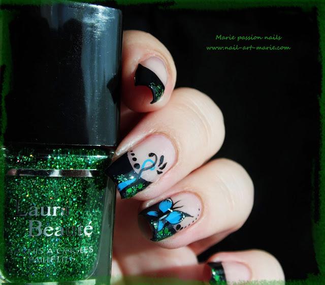 nail art french et papillon3
