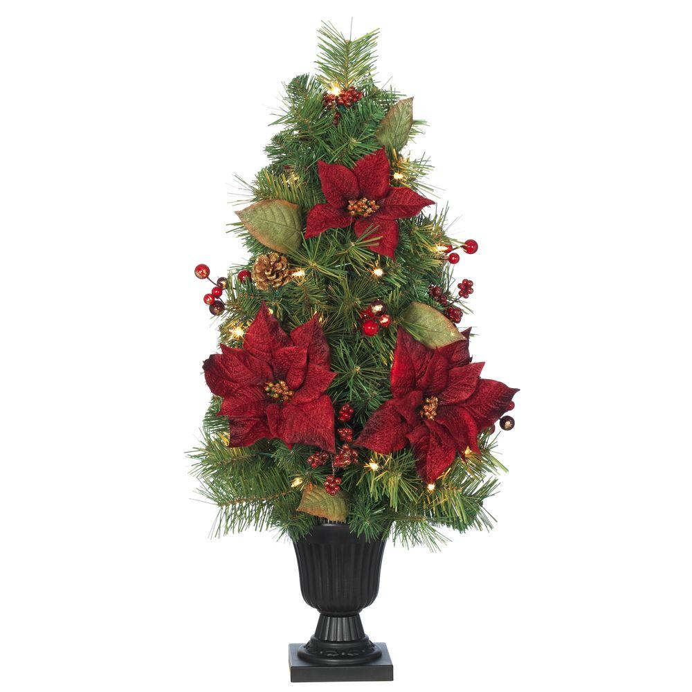 tabletop entryway or any space that needs a bit of holiday sprucing with this 32 in burgundy poinsettia and berry tree from home accents holiday