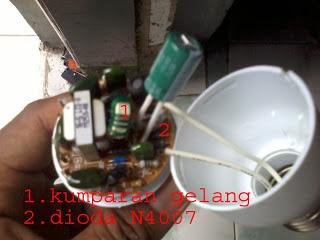 Membuat Lampu Emergency Menggunakan Lampu PL Bekas dan Lampu LED AC