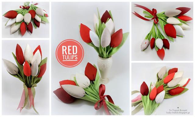 Μπουκέτο από χειροποίητες υφασμάτινες κόκκινες τουλίπες
