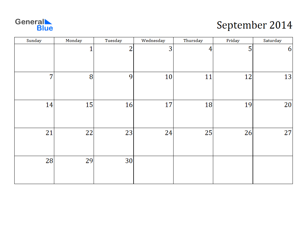 blank september 2014 calendar printable printable calendar 2014