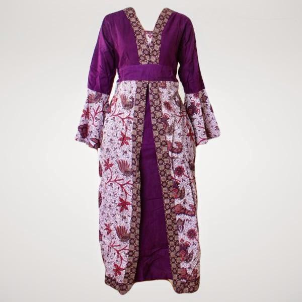 23 Model Baju Gamis Batik Wanita Kombinasi Kain Polos Foto Baju