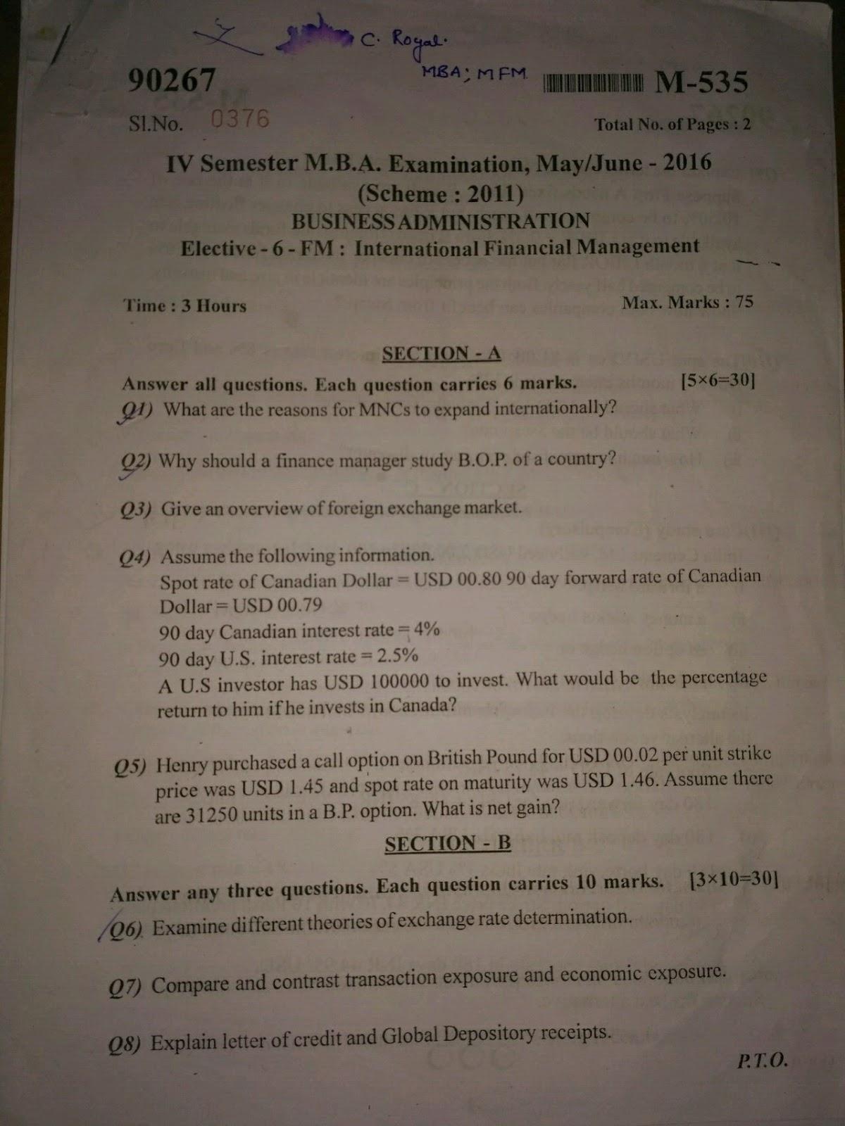 IV SEM INTERNATIONAL FINANCIAL MANAGEMENT QUESTION PAPERS
