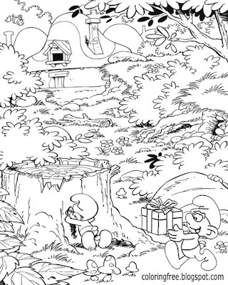 Brainy Smurf coloring book pages for teens cartoon Smurfs village drawing mushroom home forest view