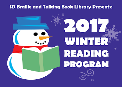 South Dakota Braille and Talking Book Library 2017 Winter Reading Program [artwork snowman reading book]