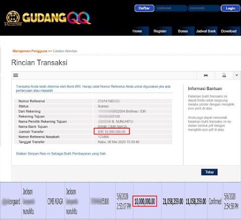 Selamat Kepada Member Setia GudangQQ WD sebesar Rp. 10,000,000.-