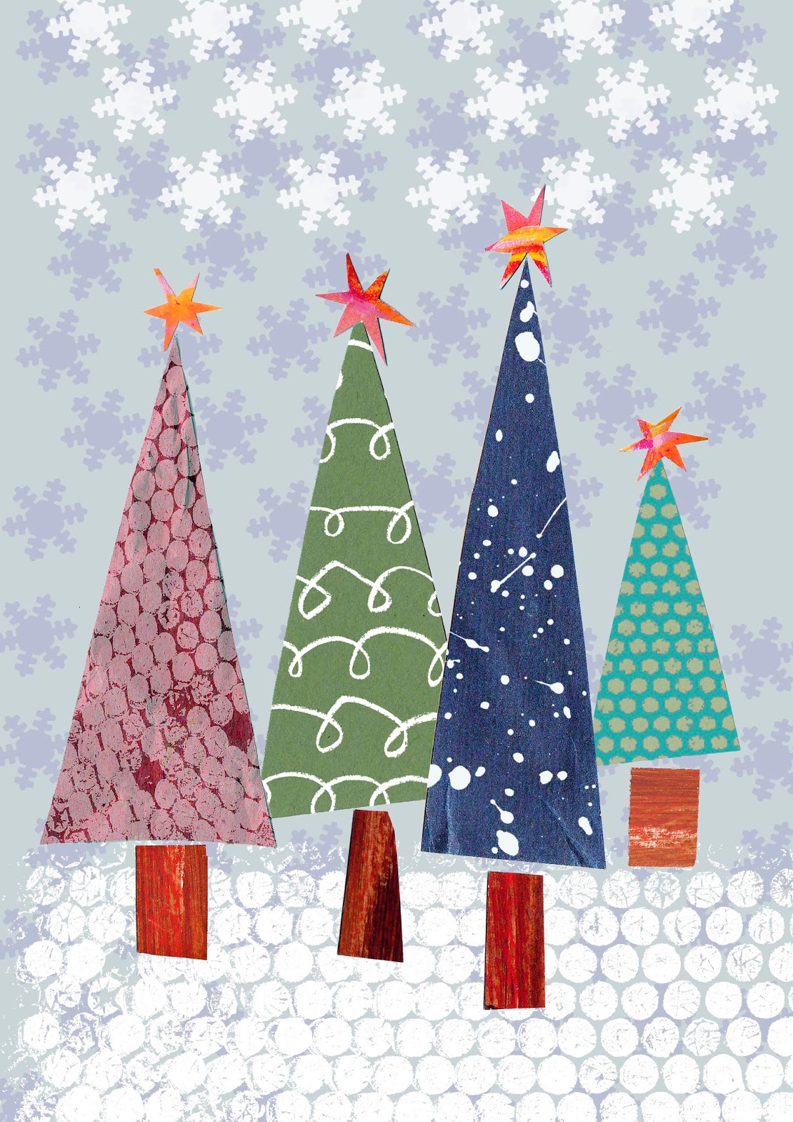 Grace Rigby Textiles: Christmas Collages, Cards, Pocket Mirrors and ...