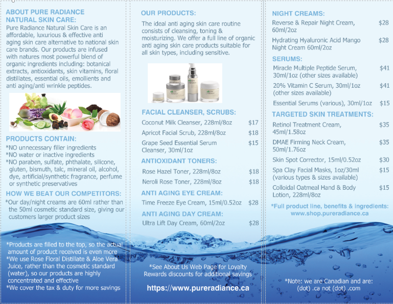 Pure Radiance Natural Skin Care Brochure 2