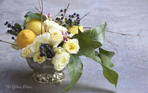 Lemon Floral Arrangement- www.gildedbloom.com