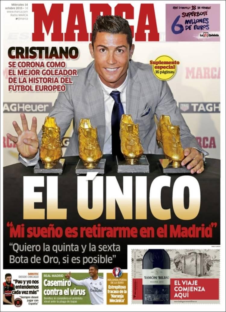 9f3360033b Cristiano Ronaldo, el único con cuatro Botas de Oro: las portadas