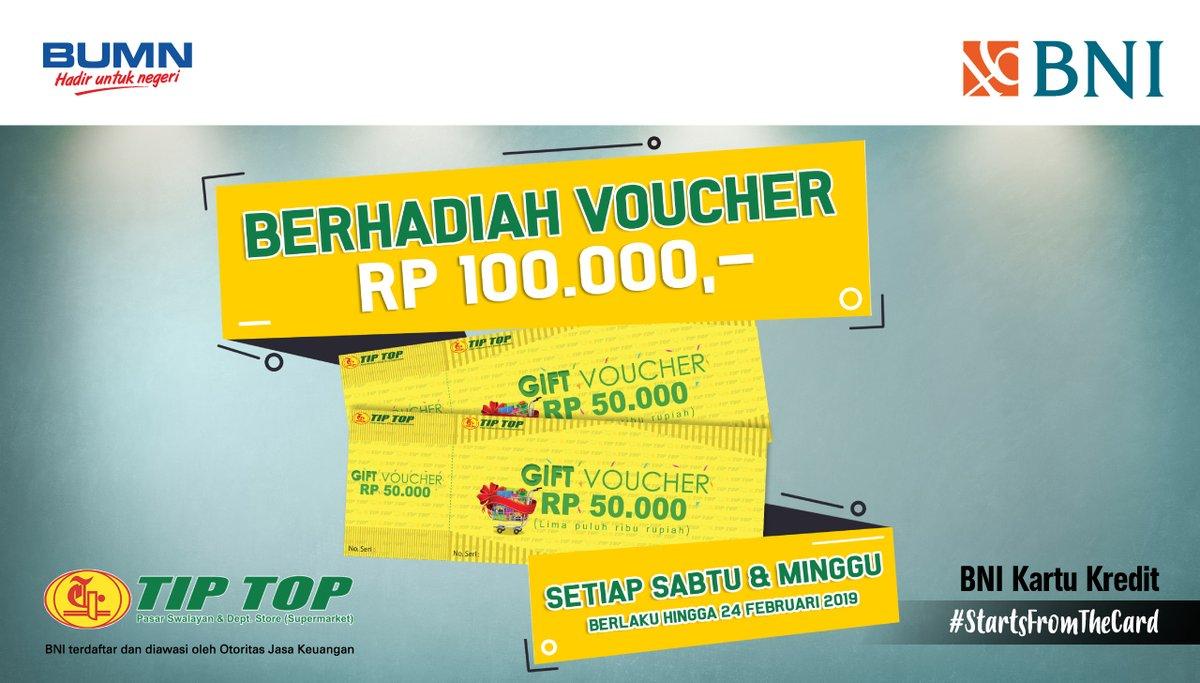 #BankBNI - #Promo Dapat Hadiah Voucher 100K Belanja di TipTop (s.d 24 Feb 2019)