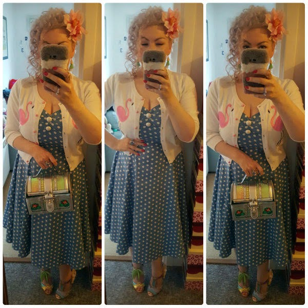 collage of full length outfit photos wearing Collectuf flamingo cardigan polka dot Dolores dress and carrying ariel chest handbag