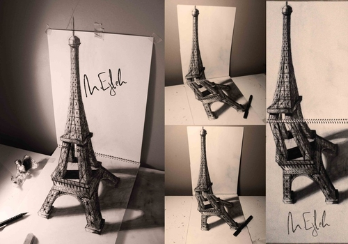 07-Eiffel-Tower-Other-Angles-Muhammad-Ejleh-2D-Like-3D-Drawings