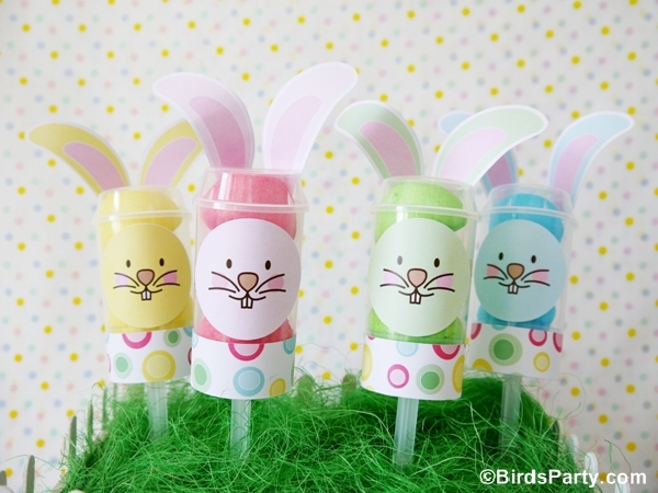 DIY Easter Bunny Push-up Pops Party Centerpiece  - BirdsParty.com