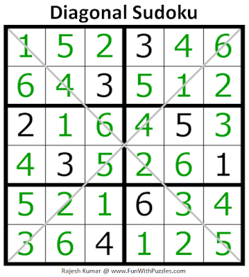 Answer of Diagonal Sudoku Puzzle (Mini Sudoku Series #107)