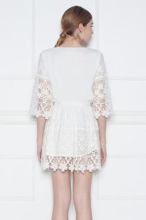 Rochie albă din dantelă NISSA