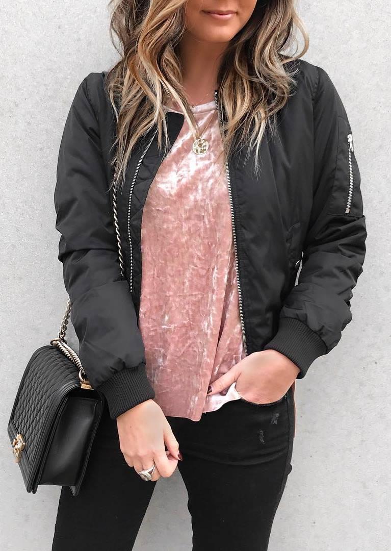 ootd | pink velvet top + bomber jacket + skinny jeans + bag