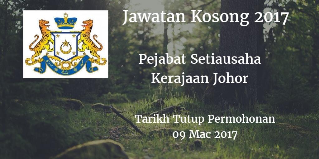 Jawatan Kosong Pejabat Setiausaha Kerajaan Johor  09 Mac 2017