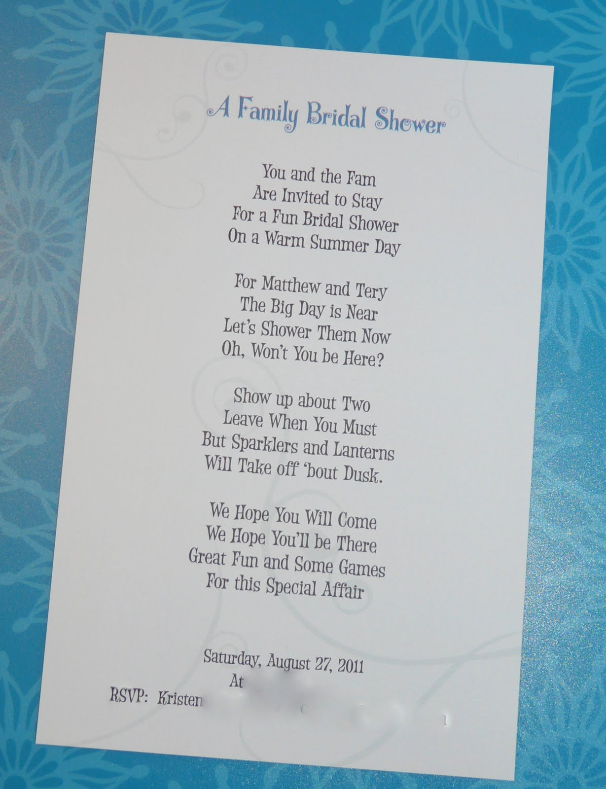 Shower Invitation Poem I Wrote Love Making Invitations Unique