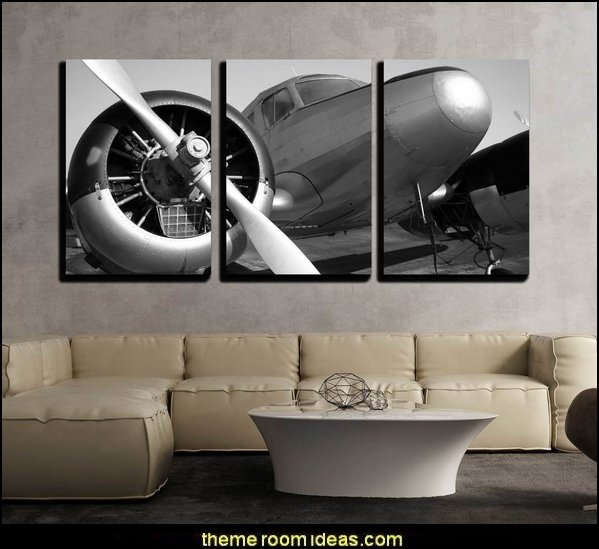 Vintage Twin Engine Airplane  airplane theme bedroom - Aviation themed bedroom ideas - airplane bed - airplane murals - airplane room decor - Airplane rooms - airplane theme beds - airplane decor  pilot chair furniture