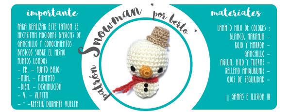 patron amigurumi bertorulez muñeco de nieve