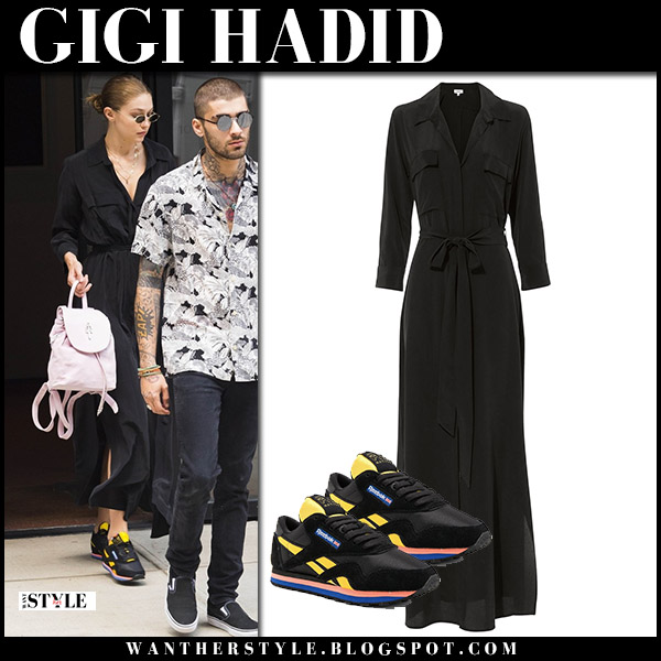 Gigi Hadid in black maxi dress lagence and black sneakers reebok model street fashion august 6