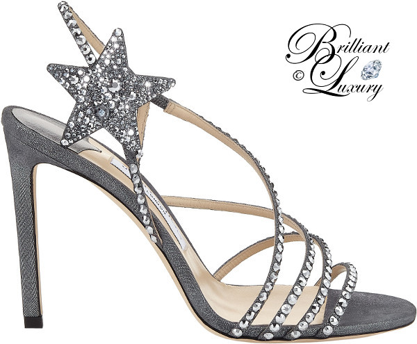 optimized pins Brilliant Luxury ♦ Jimmy Choo Lynn Anthracite Shimmer Suede Sandals with Hotfix Crystals #brilliantluxury