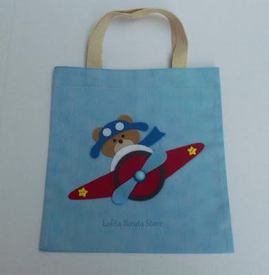 sacolinha surpresa em tecido para lembrancinha com tema ursinho aviador