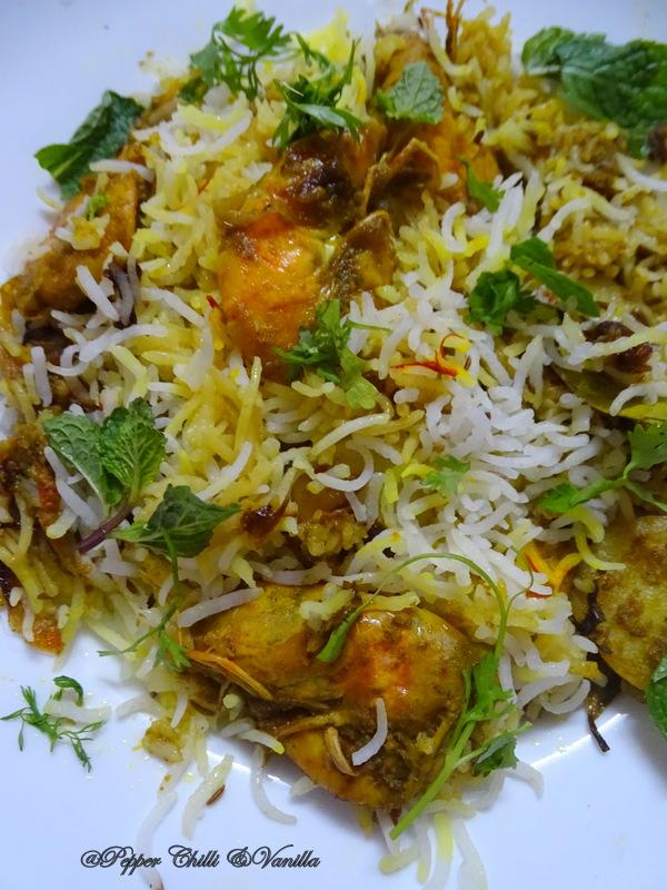 hariyali jhinga biryani recipe