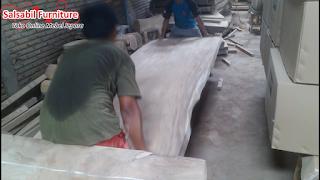 Meja Trembesi Custom Kaki Tiang Bangunan - SalsabilFurniture.com - TEL/WA: 0858-7516-6325