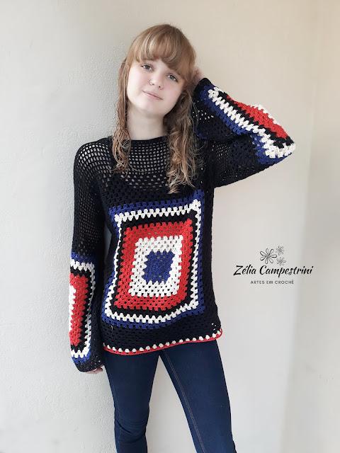 Blusa de Crochê, modelo SQUARE