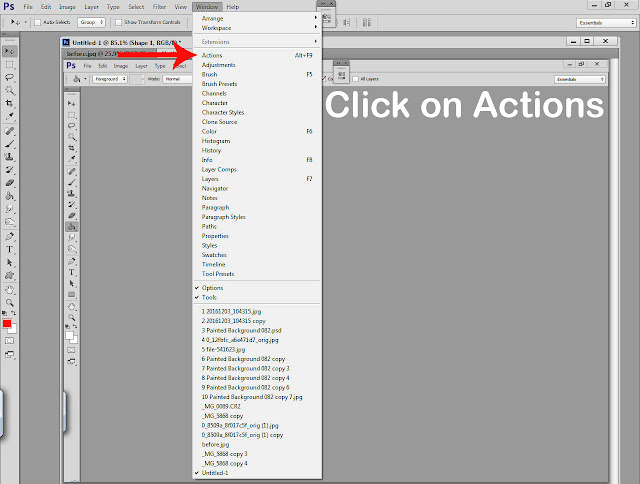 Photoshop actions tutorial step 2