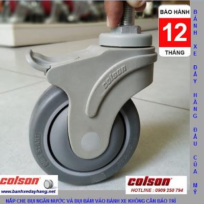 Bánh xe cao su xoay khóa Colson ty ren phi 100mm | STO-4854-448BRK4 banhxedaycolson.com