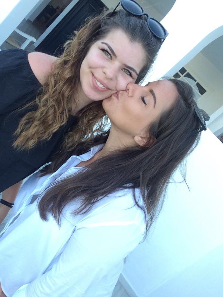 Sister's Selfies In Santorini