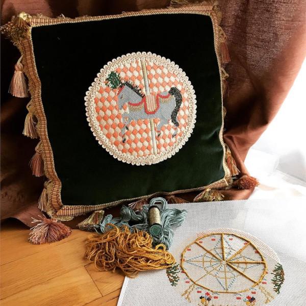Carousel Horse Needlepoint Cushion by The Plum Stitchery