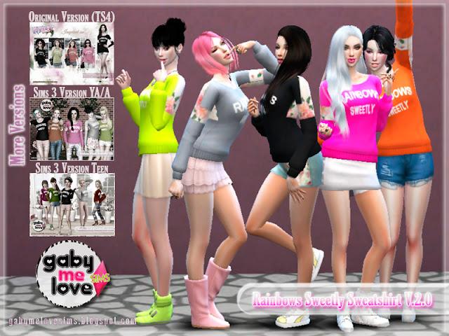 Rainbows Sweetly Sweatshirt V.2.0 ~ Asian Fashion, Sims 4. Otras versiones
