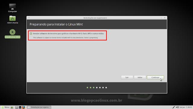 Você tem a opção de instalar codecs e drivers proprietários durante a instalação do Linux Mint
