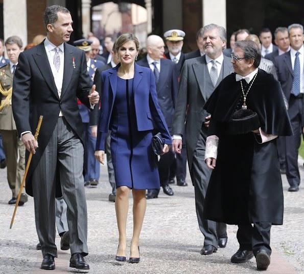 Queen Letizia attend 2016 Cervantes Awards Ceremony. Letizia wore Felipe Varela Dress and Tous Jewelers