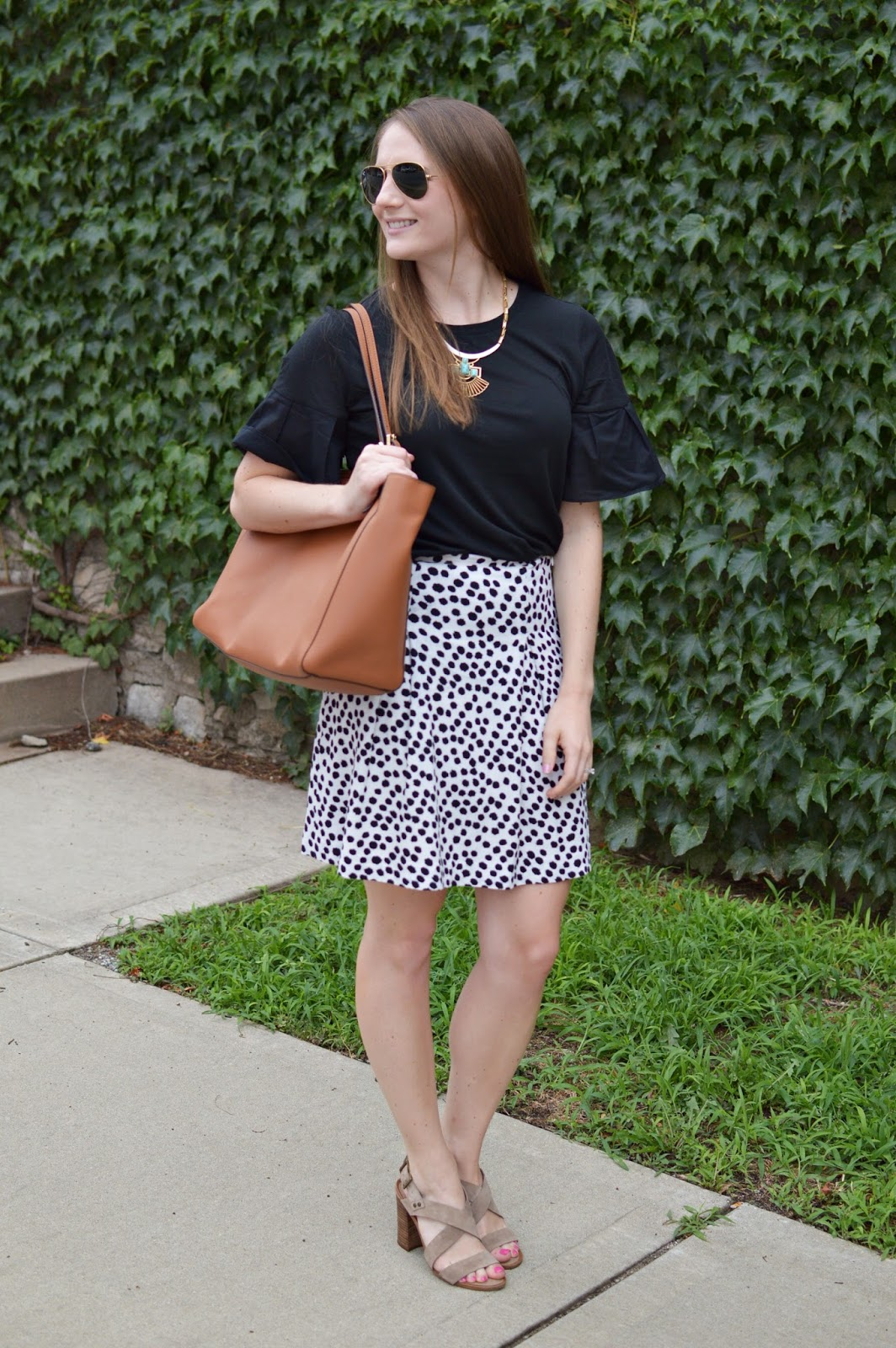 cute outfit idea for work | what to wear to work this summer | a memory of us | black and white polka dot skirt | tory burch york buckle top | how to look cute and stylish in the office