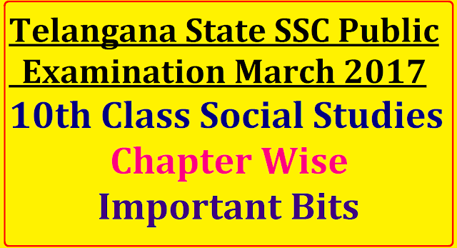 Telangana State SSC /10th class Social Studies Lesson Wise Important Bits|SSC public Examination march 2017 Social Studies Bit Bank| X- Class Social Material| TS SSC Social Studies Important Notes| Social Bit Bank| 10th Class Social studies material| 10th Class social Important Bits| SSC Public Examination March 2017 Social Important Social material| Important Bits for Slow Learners/2016/12/telangana-state-ssc-public-examination-2017-10th-class-social-study-material-bit-bank-important-notes-chapter-wise.html