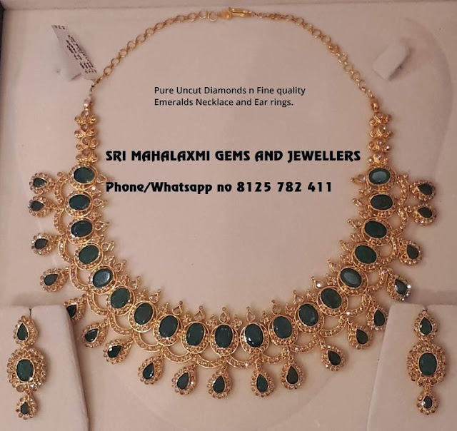Uncut Diamond Emerald Set by Srimahalaxmi
