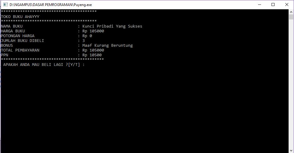 """Contoh Program Toko Buku di C++ Menggunakan """"if - else"""" dan """"switch-case"""""""