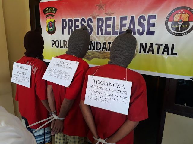 Ketiga tersangka pelaku pembunuhan di Madina saat di kantor polisi.