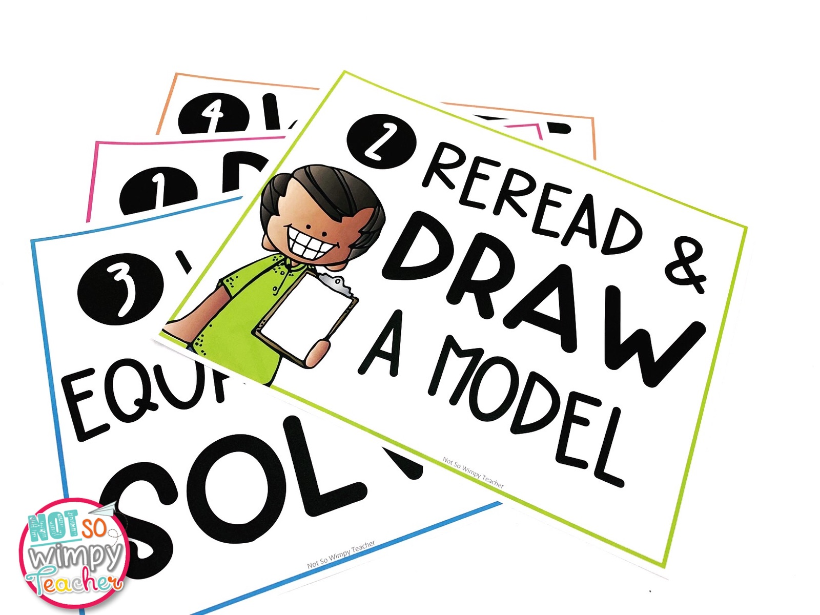 4 Math Problem Solving Posters featuring step 2 Reread and Draw a Model